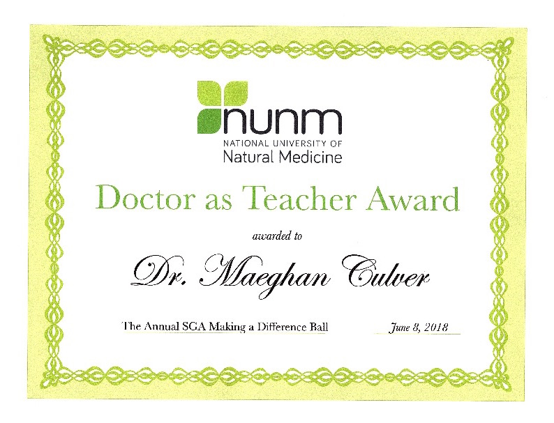 "Congratulations to Dr. Culver for winning the ""Doctor as Teacher Award""!"